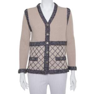 Chanel Beige Silk & Cashmere Contrast Trim Detail Button Front Cardigan L