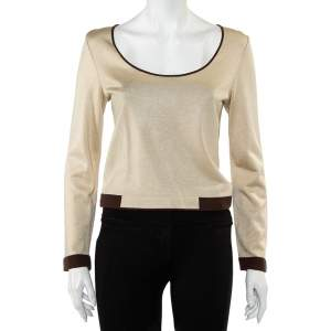 Chanel Beige Lurex Knit Contrast Detail Round Neck Top S