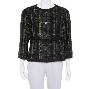 Chanel Multicolor Tweed Button Front Jacket L