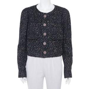 Chanel Black Tweed Sequin Embellished Button Front Jacket XL