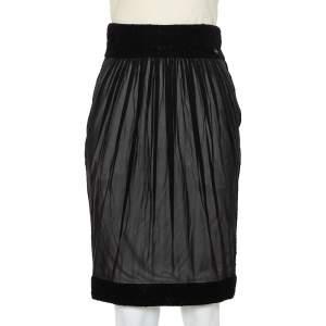 Chanel Black Silk Short Skirt S