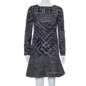 Chanel Black Tweed & Leather Sequin Embellished Paneled Mini Dress M