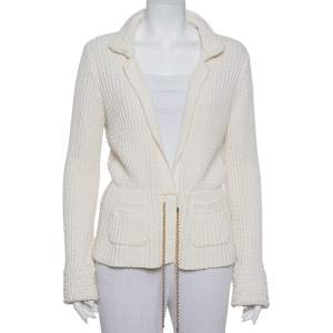 Chanel Cream Chunky Knit Front Tie Detail Vintage Cardigan M