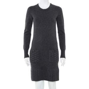 Chanel Dark Grey Cashmere Quilted Pocket & Hem Detail Shift Dress S