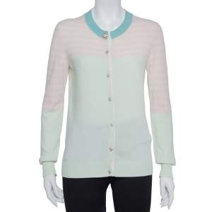 Chanel Green & Pink Cashmere Heart Button Detail Cardigan M