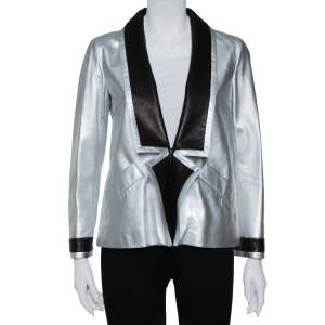 Chanel Silver Leather Contrast Trim Detail Jacket M