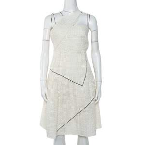 Chanel White Lurex Tweed Contrast Trim Detail Sleeveless Mini Dress S