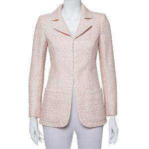 Chanel Pale Pink Lurex Insert Tweed Jacket S
