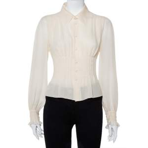 Chanel Cream Silk Smocked Detail Button Front Shirt S