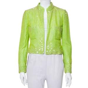 Chanel Boutique Lime Green Sequin Embellished Velvet Open Front Cropped Jacket M