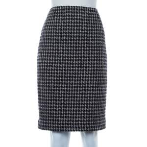 Chanel Black & Beige Tweed Back Button Detail Knee Length Skirt M