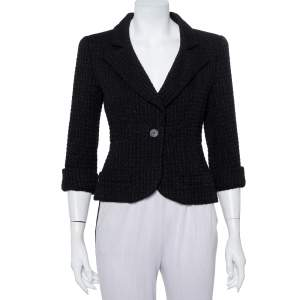Chanel Black Lurex tweed Button Front Cropped Blazer M
