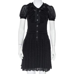 Chanel Black Knit Neck Tie Detail Button Front Mini Dress M