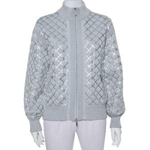 Chanel Grey Patterned Knit Zip Front Sweater M