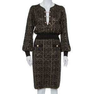 Chanel Black Lurex Knit Stone & Sequin Embellished Crop Top & Skirt Set M