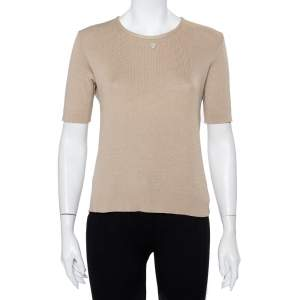 Chanel Beige Cotton Knit Short Sleeve T-Shirt L