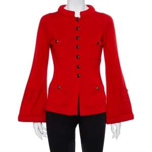 Chanel Red Cashmere & Wool Bell Sleeve Belted Sweater S