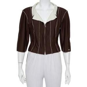 Chanel Brown Knit Paneled Zip Front Cropped Jacket L