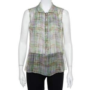Chanel Multicolor Lurex Silk Sleeveless Shirt M