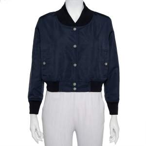 Chanel Navy Blue Synthetic Button Front Cropped Jacket M