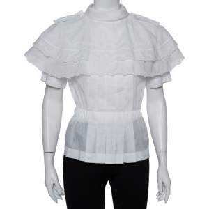 Chanel White Cotton Scalloped Overlay Detail Top M