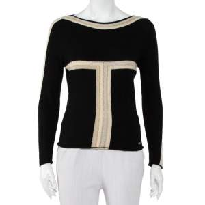 Chanel Black Cashmere Contrast Detail Boat Neck Sweater M