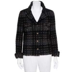 Chanel Black Lurex Tweed Button Front Jacket M