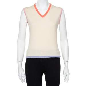 Chanel Cream Cashmere Contrast Detail V-Neck Sleeveless Sweater M