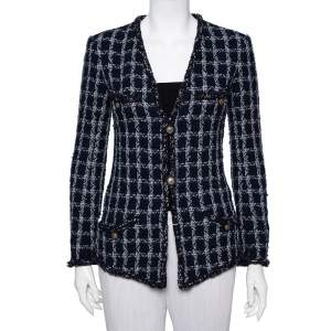 Chanel Navy Blue Tweed Star Embellished Button Front Jacket S