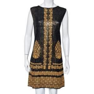 Chanel Black & Gold Printed Jacquard Knit Sleeveless Shift Dress L