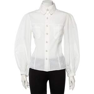 Chanel White Perforated Cotton Button Front Shirt L