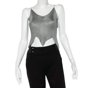 Chanel Grey Knit Asymmetrical Hem Camisole Top M