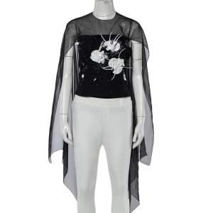 Chanel Vintage Black Embellished Tulle & Silk Overlay Top M