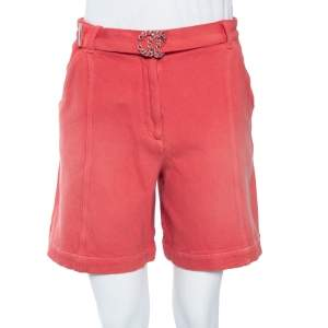 Chanel Pink Cotton Twill Belted Shorts S