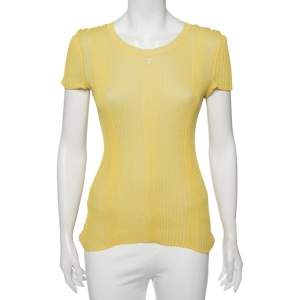 Chanel Yellow Two Toned Cotton Knit Reversible Top S