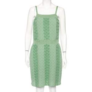 Chanel Green Patterned Lurex Knit Ribbed Trim Short Dress M