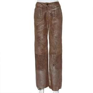 Chanel Vintage Brown Metallic Suede Wide Leg Trousers S