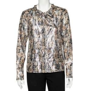 Chanel Metallic Cat Printed Silk Neck Tie Detail Shirt M