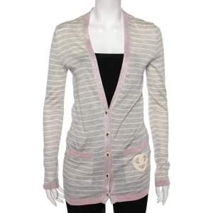 Chanel Grey Striped Cashmere & Metallic Lurex Knit Trim Cardigan S