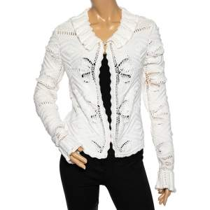 Chanel White Crochet Knit Buttoned Neck Detail Long Sleeve Cardigan M