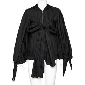 Chanel Black Synthetic Detachable Scarf Trim Oversized Hooded Jacket S