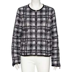 Chanel Grey Checked Tweed Print Technical Fabric Reversible Jacket L
