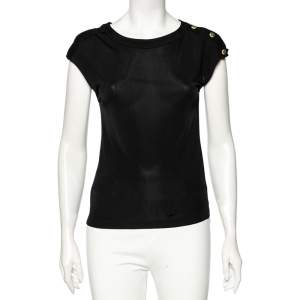 Chanel Black Jersey Buttoned Shoulder Detail Round Neck Top S
