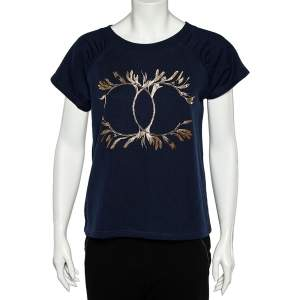Chanel Navy Blue Cotton Knit CC Print Grecian Goddess T-Shirt XS