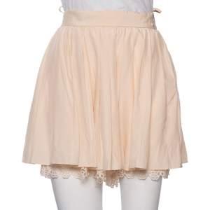 Chanel Peach Silk Pleated Detail Scalloped Hem Layered Shorts M
