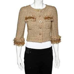 Chanel Gold Lurex Tweed Fringe Detail Button Front Jacket S
