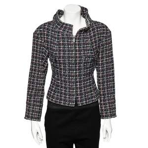 Chanel Multicolor Tweed Exaggerated Collar Detail Zip Front Jacket S