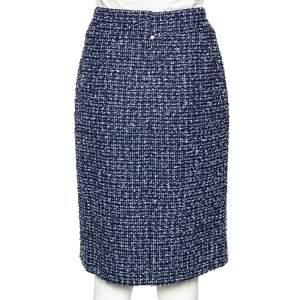 Chanel Navy Blue-White Tweed Knee Length Skirt L