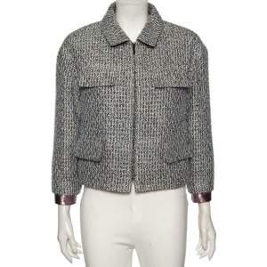 Chanel Metallic Fancy Tweed Flap Pocket Detailed Jacket L