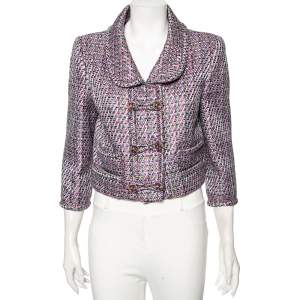 Chanel Multicolored Fantasy Tweed Double Breasted Cropped Jacket L